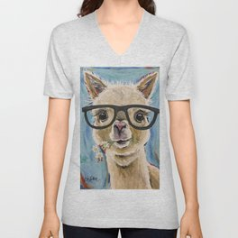 Cute Alpaca With Glasses Unisex V-Neck