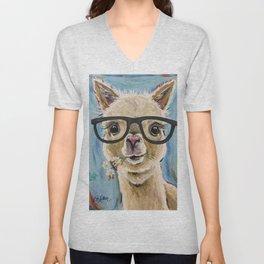 Cute Alpaca With Glasses Unisex V-Neck