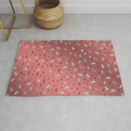 pink,silver,dollar, symbol in shiny metall textur Rug