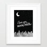 i love you to the moon and back Framed Art Prints featuring I Love You to the Moon & Back by jesslindsaydesign