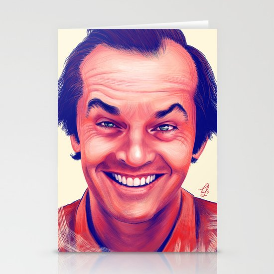 Young Jack Nicholson and the evil smile - digital painting Stationery Cards