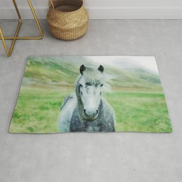 White horse close up watercolor painting Rug