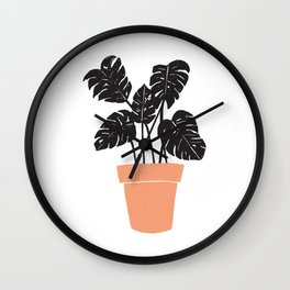 Potted Monstera Wall Clock