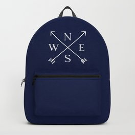 Navy Blue and White Compass Arrows Backpack