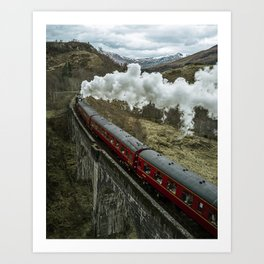 Red Wizard Steam Train In The Scottish Highlands – Landscape Photography Art Print