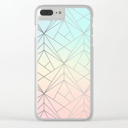 Geometric Silver Pattern on Pastel Gradient Clear iPhone Case