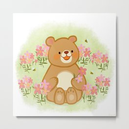 Bees Blossoms And A Bear Metal Print