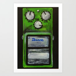 "Ibanez TS-9 Tube Screamer Guitar Pedal acrylics on 5"" x 7"" canvas board Art Print"