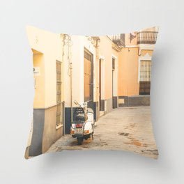 Seville XXIII [ Andalusia, Spain ] Another scooter in Yellow Street⎪Colorful travel photography Poster Throw Pillow