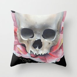 Lotus Flower and Skull Throw Pillow