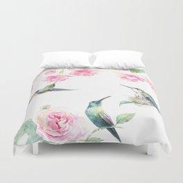 Paradise - watercolor hummingbirds and fuschia Duvet Cover