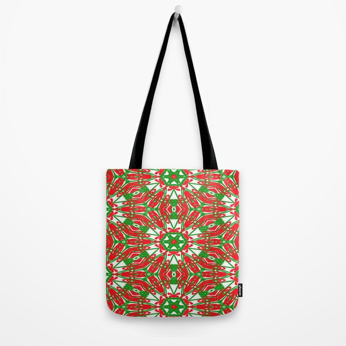 Red, Green and White Kaleidoscope 3376 Tote Bag