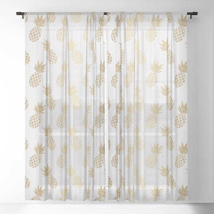 Gold Pineapple Pattern Sheer Curtain