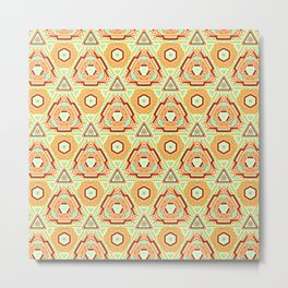 Fiesta of Triangle Pyramid Floral Dots , Turquoise, Orange and Brown Mexican Style Metal Print