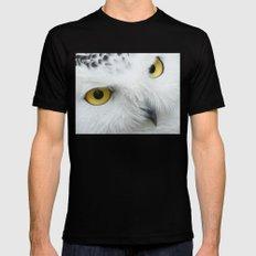 Snowy Owl Eyes Black Mens Fitted Tee MEDIUM