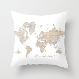 Wanderlust watercolor world map with compass rose Throw Pillow