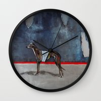 greyhound Wall Clocks featuring greyhound by Agnes Florko