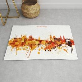 Heidelberg Germany Red Yellow Skyline Rug