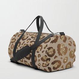 Brown Glitter Leopard Print Pattern Duffle Bag