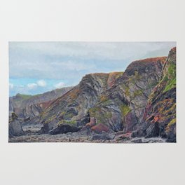 Hartland Quay Cliffs Rug