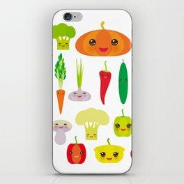 Kawaii vegetables peppers, pumpkin beets carrots, eggplant, red hot peppers, cauliflower, broccoli iPhone Skin