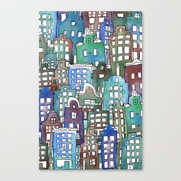 Bright canal houses for everyone Canvas Print