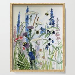 Wildflower in Garden Watercolor Flower Illustration Painting Serving Tray