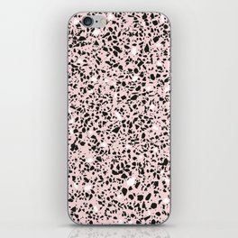 'Speckle Party' Soft Pink Black White Dots Speckle Terrazzo Pattern iPhone Skin