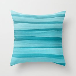Teal Watercolor Lines Pattern Throw Pillow