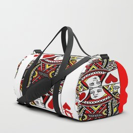 RED QUEEN OF HEARTS PLAYING CARDS ARTWORK Duffle Bag