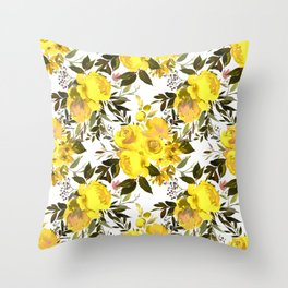Yellow brown green watercolor hand painted roses Throw Pillow