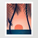 Sunset Palms - Peach Navy Palette by kristiangallagher