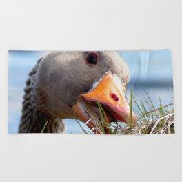 Watercolor Bird, Graylag Goose 01, Pingvallavatn, Iceland Beach Towel