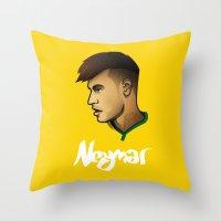 neymar Throw Pillows featuring Neymar Brazil by Dave Flanagan