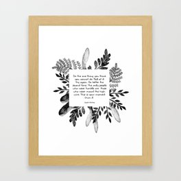 Black&White Watercolor Floral Quote Framed Art Print