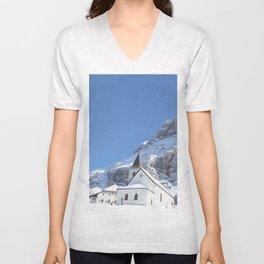 Church in the snow Unisex V-Neck
