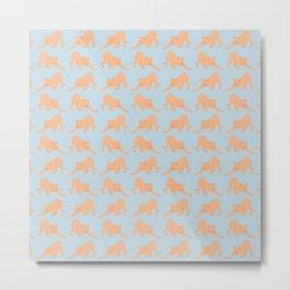 Ginger Cat Stretching Pattern Metal Print