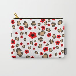 Romantic Leopard Print and Flowers on White Carry-All Pouch