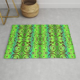 scroll ombre stripe tropical colors Rug