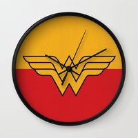 dc comics Wall Clocks featuring Wonder Logo Woman Minimalist Art Print DC Comics by The Retro Inc