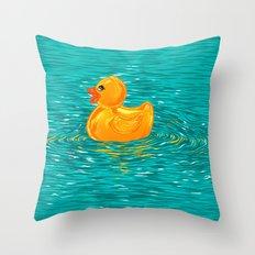 Quack Quack Says the Plastic Duck! Throw Pillow
