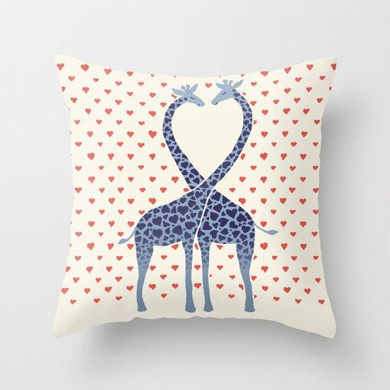 Giraffes in Love - a Valentine's Day illustration Throw Pillow