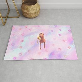 Greyhound with hearts pattern Rug