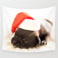 puppy Wall Tapestries featuring Christmas puppy  by UtArt