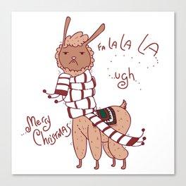 Unamused Llama Christmas Themed - Brown Canvas Print