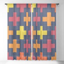 Colorful Crosses III Sheer Curtain