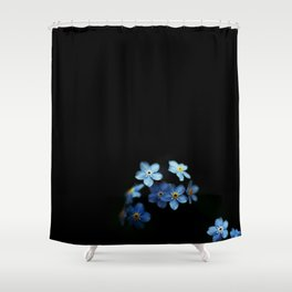 Forget Me Nots on Black Shower Curtain
