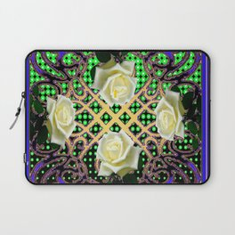 BLUE-GREEN WHITE ROSE GARDEN  TAPESTRY ART Laptop Sleeve