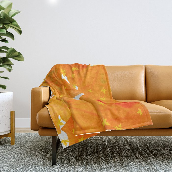 Fall Orange Maple Leaves On A White Background #decor #buyart #society6 Throw Blanket