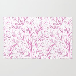 Sketchy Flowers Pink On White Pattern Rug